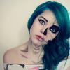 Blue hair and skeleton