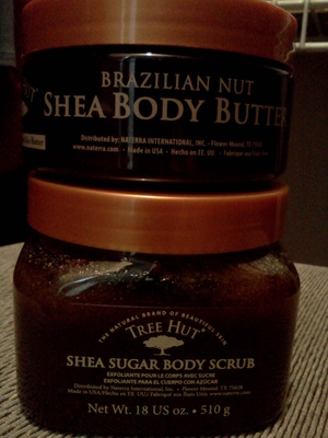 Tree Hut Brazilian Nut Body Butter and Sugar Scrub. I stumbled on these while grocery shopping a few weeks ago and now I'm hooked. They smell so awesome, sort of like burnt sugar (think creme brulee or flan). I use the scrub and body butter every night...