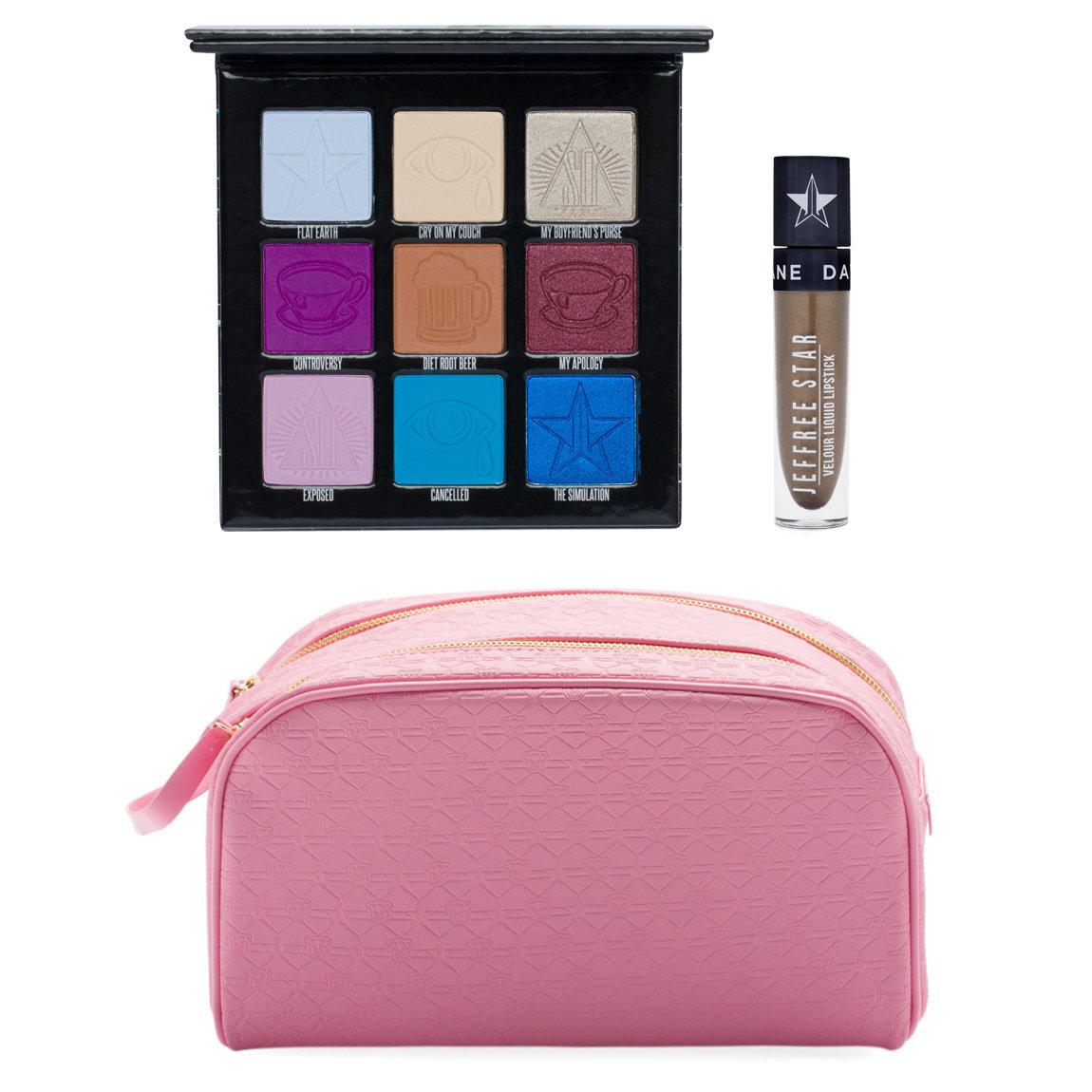 Jeffree Star Cosmetics Mini Controversy + Shane Velour Liquid Lipstick & Pink Double Zip Bag product swatch.