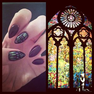 cathedral windows inspired by this banksy piece. solid colored nails are gelish plum and done.