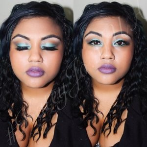 turquoise and brown tones work so well together! added a purple lip to tie it all together.