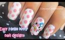 Easy Hello kitty and polka dots nail design tutorial