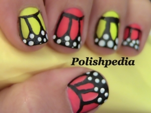 """""""I love how these butterfly fingernails look in neon pink and yellow!""""  Watch My Video Tutorial: http://www.polishpedia.com/butterfly-nails.html"""