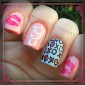 February Nail Art Challenge: XOXO. http://www.thepolishedmommy.com/2013/02/hugs-and-kisses.html