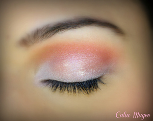 Using Pure fusion mineral eyeshadows in Var on the lid coral on the crease