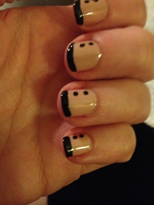 French Tips and dots in Sinful Colors Black on Black. Nails painted with OPI Samoan Sand