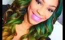 Green/Yellow Ombre on Nana's Virgin Brazilian Hair