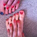Polka dots and shiney nails