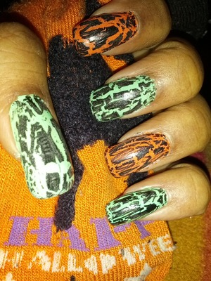 green, orange, black crackle, clear glow in the dark polishes (unfortunately I can't get a pic to show the glow in the dark)