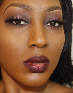 Lipstick is Talk That Talk. Lashes are MAC #35's. Be sure to stop by my FB page and say hi! www.facebook.com/luxurybrownbeauty