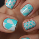 Turquoise & white heart nails