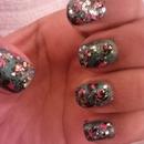 Glittery Cheetah Nails (: