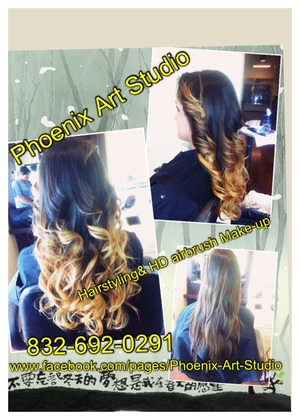 """Hairstyling, OMBRÉ COLOR By: PHOENIX ART  STUDIO.  Call for your appt today: 8326920291 Ask about our gift with purchase of the OMBRÉ.  Visit our Fan page and """"LIKE"""" us for Up to Date tips, tricks, Ideas and specials for your haircare and Make-up needs.  Face Book Fan page: https://www.facebook.com/#!/pages/Phoenix-Art-Studio  We specialize in On location special event hairstyling and HD AIRBRUSH MAKE-Up and we also offer In studio appts for private clients that want to skip the noisy, high traffic salon services. We believe that when you visit us it's your time to relax and enjoy your hair care/make over time. With Phoenix Art Studio """"Your beauty is Reborn"""""""