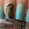 Mint gradient with one stroke flowers