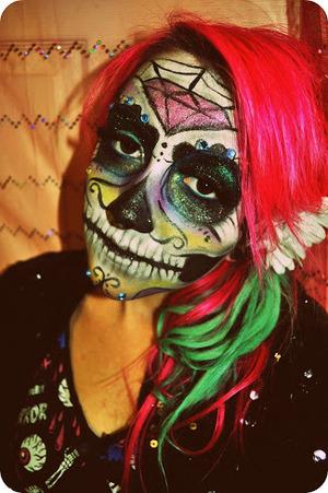 Glittery sugar skull makeup I did on myself!