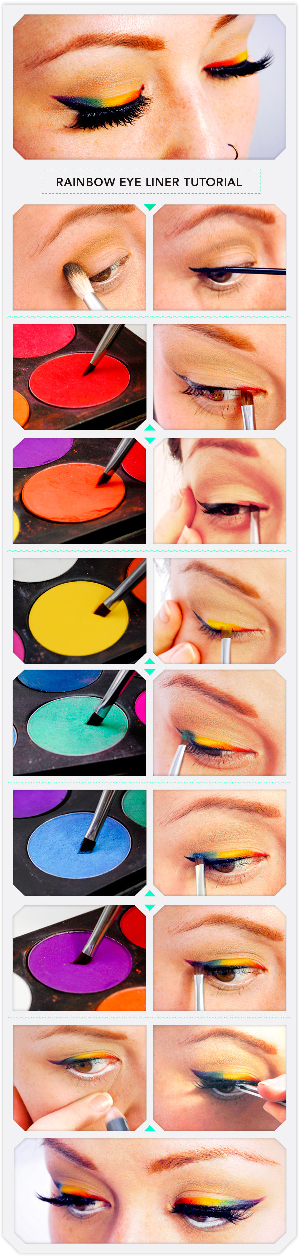 Rainbow eye liner tutorial beautylish step 1 baditri Image collections