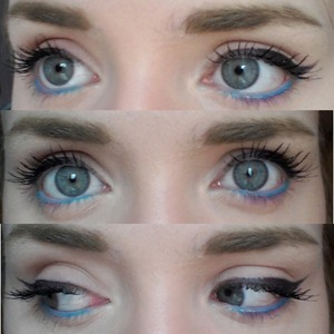 """Wore this to school, loved it.  The blue eyeliner is from L.A Colors and is in the shade """"Sky Blue""""."""