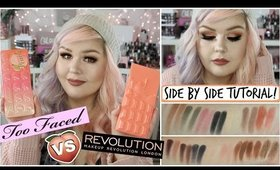 Too Faced Sweet Peach Palette VS Makeup Revolution | Dupe Tutorial