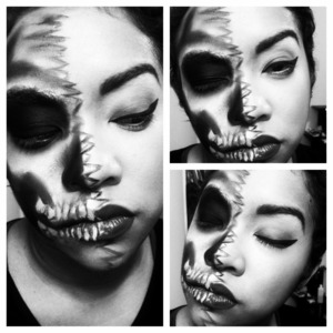 skeleton retro halloween two face makeup look