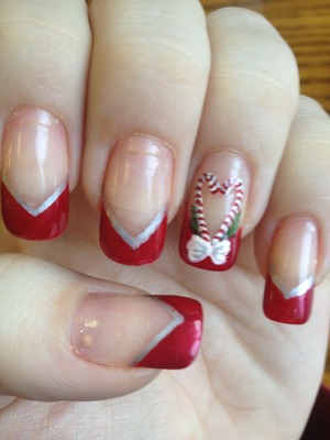 Candy cane nails inspired by Robin Moses