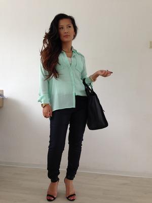 Blouse- h&m Jeans- h&m Peep toe heels sandals-zara Bag- celine paris
