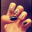 Black and white cross nails <3