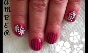 Pink, Black & White Nail Art Design