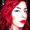 Blue Glitter Cat Eye and Red Lips