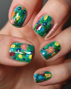 These were inspired by the grass and flower part at the bottom of Gustav Klimt's painting The Kiss. They were super fun to do!  Colors used and how-to at the blog post.  http://www.dressedupnails.com/2013/01/the-digit-al-dozen-does-art-day-4.html