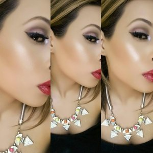 Glowy cheeks, Red lips and a cut in the crease