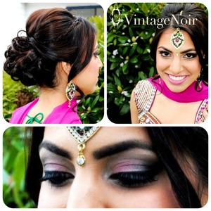 Bollywood style hair and makeup by Vintage Noir