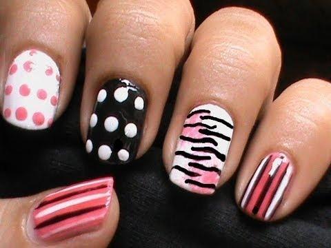 zebra nails with polka dots  short nails nail art designs