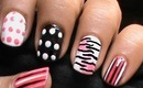 Zebra Nails with Polka Dots - Short Nails Nail Art Designs How To and Art Design Nail Art Beginners