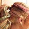 hair. color. pink n blue