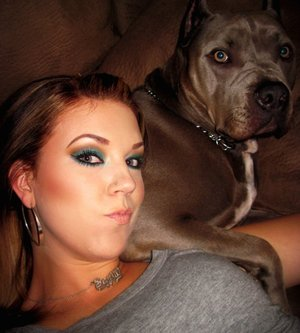 "A picture that shows my ""Teal and warm brown"" eye makeup pretty well.  Plus is shows my handsome boy so I like it haha"