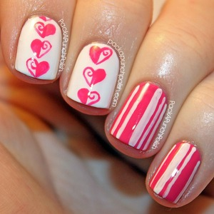 Half swirled heart design and stripes in pink and white.  The pink is China Glaze Laced Up and the white is Sally Hansen Xtreme Wear White On. I used Out The Door top coat.  Tutorial: http://youtu.be/NbOVmiWLycA  Full Blog Post: http://www.packapunchpolish.com/2013/02/half-swirl-hearts-stripes-valentines.html