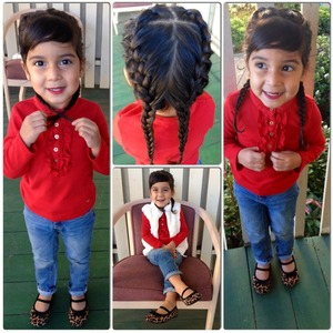 Red ruffle long sleeve paired with Cheetah print flats!