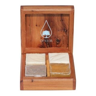 Amal Oils Cedar Wood Artisanal Box with 4 Soap Sampler