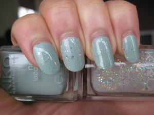 KIKO nail lacquer in vintage green and multi sized glitters