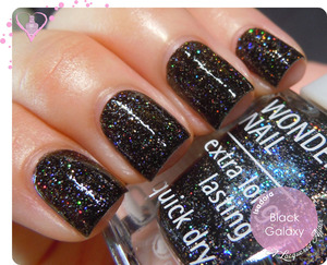 More photos of swatches, comparison, nail art and review on the blog:  http://www.alacqueredaffair.com/IsaDora-Black-Galaxy-Bella-Vita-29990644