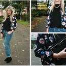 Floral Printed Black Jacket