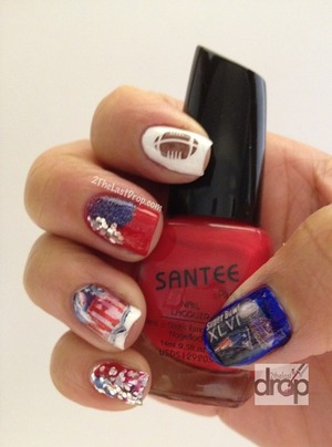 Sports, Football and Super Bowl nails. Konad Stamp for the football and stickers for the NFL logo.