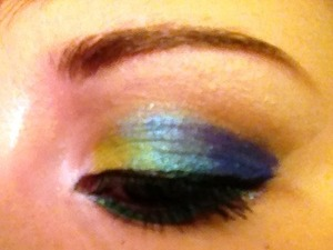Peacock look, using Sugarpill Cosmetics (Lumi, Buttercupcake, Tipsy, Starling and Royal Sugar)