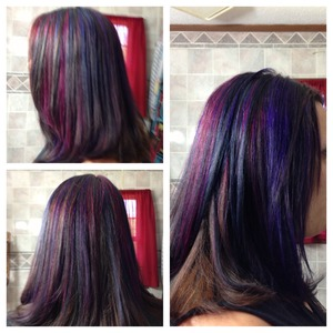 Blue, purple, & pink highlight on 5n hair 😊