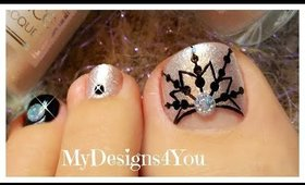 Winter Toe Nail Art | New Year's Snowflake Pedicure ♥