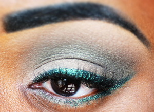 Without the green eyeliner on the water line it is less dramatic, but if you add the green eyeliner by NYX, it makes the look more dramatic.
