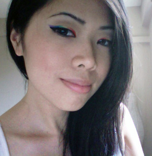 Webcam pic, but here's my first attempt at rainbow eyeliner. Inspired by the gorgeous Veronica M.