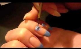 Blue Hime Gyaru Nails