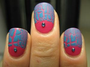 Layla pink polish + Deborah Milano blue crackle polish