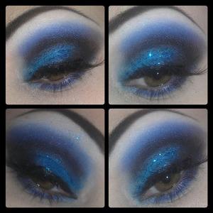 blue smoke with added glitter.